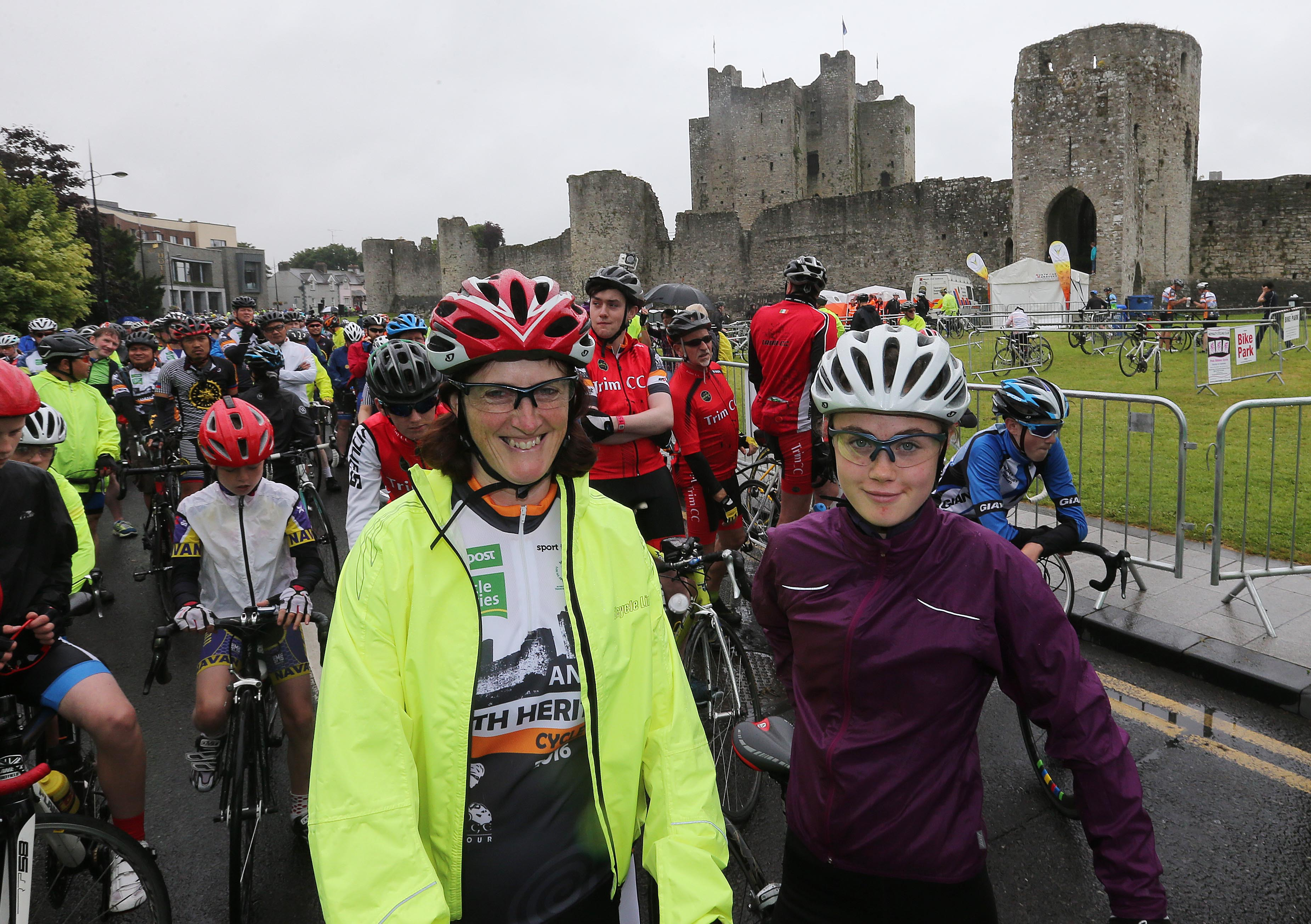 PRESS RELEASE..NO REPRODUCTION FEE…..  An Post Meath Heritage Cycle 24/7/2016 Dr.Una May of Sport Ireland and her daughter Caoimhe at the start in Trim Pic Lorraine O'Sullivan  PRESS RELEASE..NO REPRODUCTION FEE…..