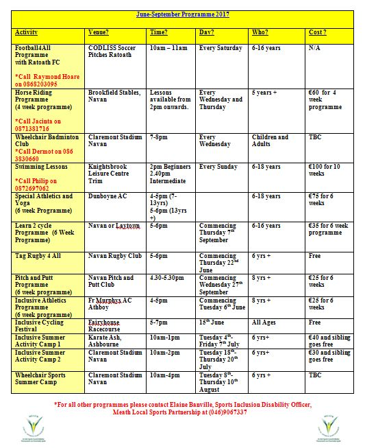 sports ability programme schedule
