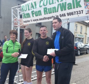 presentation of winners prizes by Mary Murphy (Coordinator of Meath LSP) & David Nolan (Manager Club Active gym, Kells)