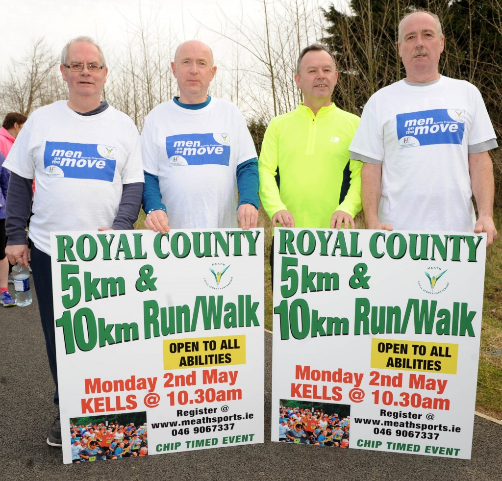 Men on the Move participants commit to doing their first 10k. Gerry Martin, John Bell, Michael Cahill & Joe Smith